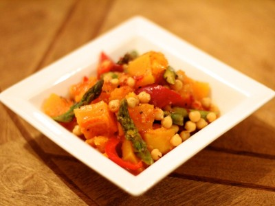 Butternut squash, chickpea and Asparagus sweet chilli salad