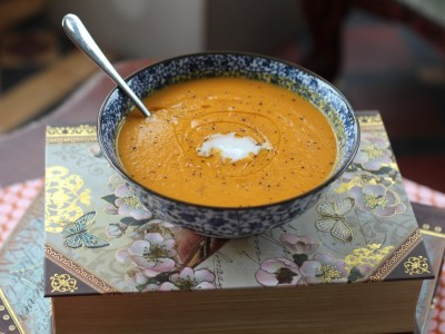 Spiced Creamy Carrot and Sweet Potato Soup.