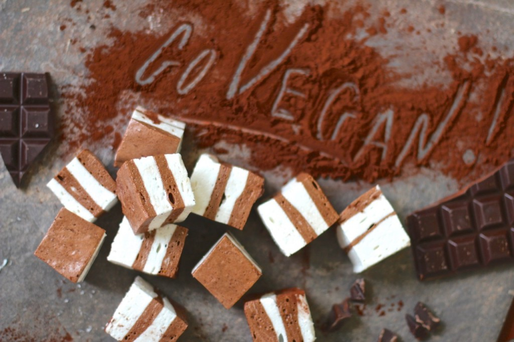 TopDeck Chocolate and Vanilla Vegan Marshmallows (Marshmallow,VEGAN egg free, dairy free, gelatine free, gluten free) Sign up to Plantified.com to get a FREE VEGAN AQUA FABA MOUSSES RECIPE E-BOOK
